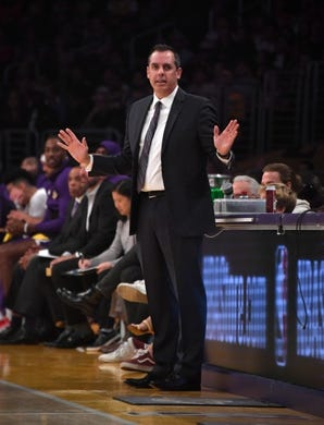 Oct 16, 2019; Los Angeles, CA, USA; Los Angeles Lakers coach Frank Vogel reacts  in the first half against the Golden State Warriors at Staples Center. Mandatory Credit: Kirby Lee-USA TODAY Sports