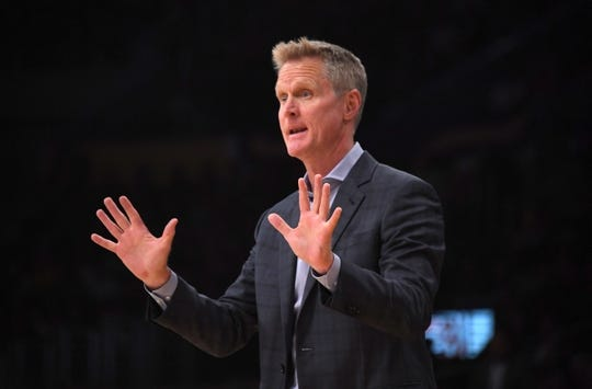 Oct 16, 2019; Los Angeles, CA, USA; Golden State Warriors coach Steve Kerr reacts in the first half against the Los Angeles Lakers at Staples Center. Mandatory Credit: Kirby Lee-USA TODAY Sports