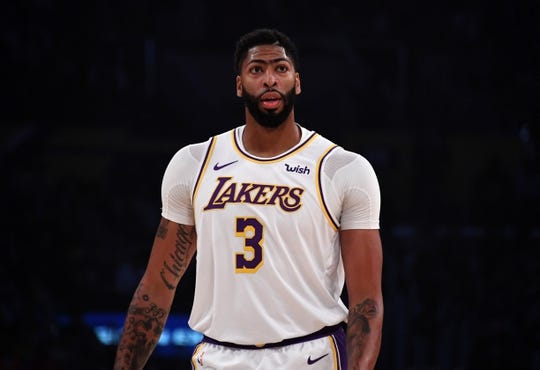 Oct 16, 2019; Los Angeles, CA, USA; Los Angeles Lakers forward Anthony Davis (3) reacts against the Golden State Warriors in the first half at Staples Center. Mandatory Credit: Kirby Lee-USA TODAY Sports