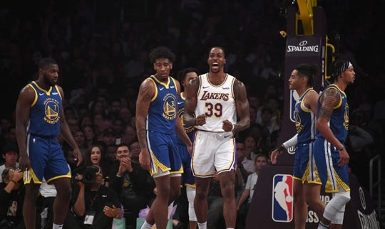 Oct 16, 2019; Los Angeles, CA, USA; Los Angeles Lakers center Dwight Howard (39) celebrates against the Golden State Warriors in the first half at Staples Center. Mandatory Credit: Kirby Lee-USA TODAY Sports