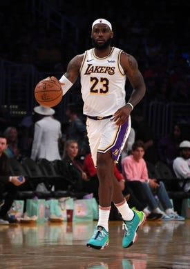 Oct 16, 2019; Los Angeles, CA, USA; Los Angeles Lakers forward LeBron James (23) dribbles the ball against the Golden State Warriors in the second half half at Staples Center. The Lakers defeated the Warriors 126-93. Mandatory Credit: Kirby Lee-USA TODAY Sports