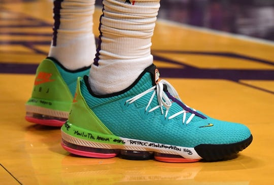 Oct 16, 2019; Los Angeles, CA, USA; Detailed view of the Nike Lebron 17 basketball shoes worn by Los Angeles Lakers forward LeBron James (23) in the second half half against the Golden State Warriors at Staples Center. Mandatory Credit: Kirby Lee-USA TODAY Sports