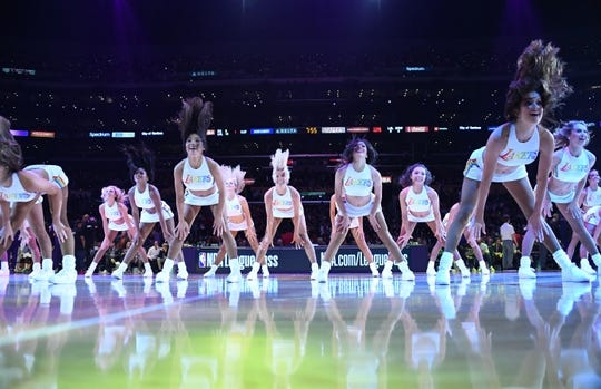 Oct 16, 2019; Los Angeles, CA, USA;  Los Angeles Lakers girls cheerleaders perform in LBGTQ pride uniforms against the Golden State Warriors at the Staples Center.  Mandatory Credit: Kirby Lee-USA TODAY Sports