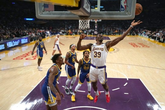 Oct 16, 2019; Los Angeles, CA, USA; Los Angeles Lakers forward Anthony Davis (3) reaches for the ball in the first  half against the Golden State Warriors at Staples Center. Mandatory Credit: Kirby Lee-USA TODAY Sports