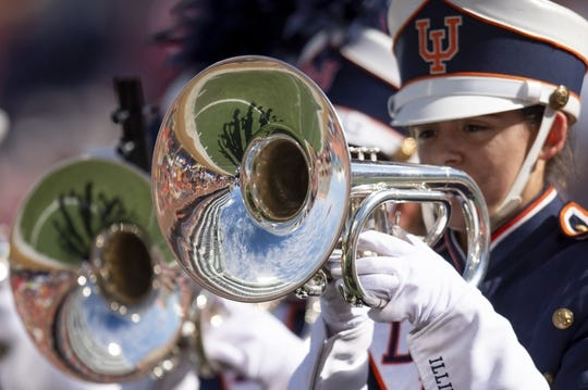 Oct 19, 2019; Champaign, IL, USA; The Marching Illini performs prior to the first half during a game between the Illinois Fighting Illini and the Wisconsin Badgers at Memorial Stadium. Mandatory Credit: Patrick Gorski-USA TODAY Sports