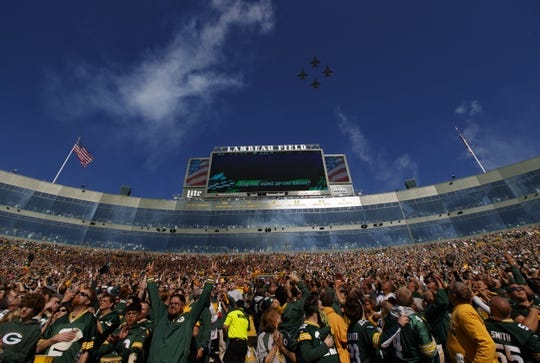 Oct 20, 2019; Green Bay, WI, USA; Military jets perform a flyover of Lambeau Field prior to the game between the Oakland Raiders and Green Bay Packers. Mandatory Credit: Jeff Hanisch-USA TODAY Sports