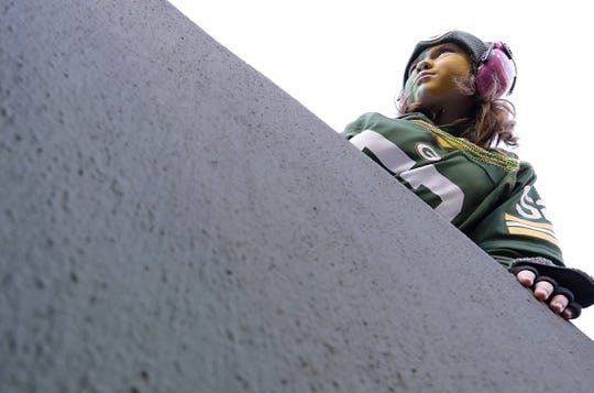 Oct 20, 2019; Green Bay, WI, USA; Adelyn Broombaugh of St Louis, MO, waits for players to run on to the field during warm up prior to the game against the Oakland Raiders at Lambeau Field. Mandatory Credit: Dan Powers/Wisconsin via USA TODAY Sports