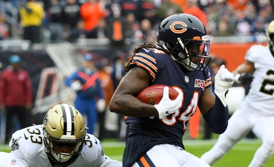 Oct 20, 2019; Chicago, IL, USA; Chicago Bears wide receiver Cordarrelle Patterson (84) returns the ball for a touchdown against the New Orleans Saints during the first half at Soldier Field. Mandatory Credit: Mike DiNovo-USA TODAY Sports