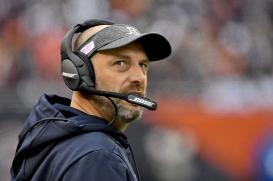 Oct 20, 2019; Chicago, IL, USA; Chicago Bears head coach Matt Nagy looks on against the New Orleans Saints during the first half at Soldier Field. Mandatory Credit: Matt Marton-USA TODAY Sports