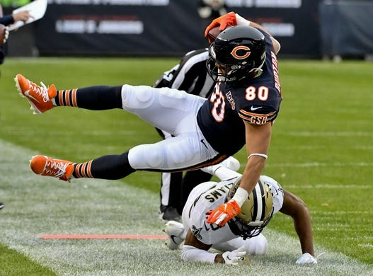 Oct 20, 2019; Chicago, IL, USA; Chicago Bears tight end Trey Burton (80) catches a pass against New Orleans Saints free safety Marcus Williams (43) during the first half at Soldier Field. Mandatory Credit: Matt Marton-USA TODAY Sports