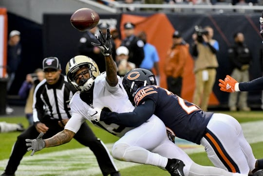 Oct 20, 2019; Chicago, IL, USA; New Orleans Saints wide receiver Ted Ginn (19) has a pass broken up in the end zone by Chicago Bears cornerback Prince Amukamara (20) during the first half at Soldier Field. Mandatory Credit: Matt Marton-USA TODAY Sports