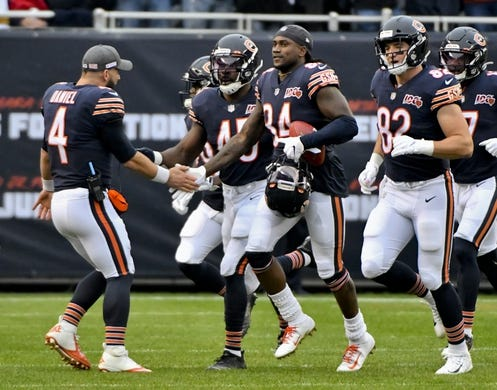 Oct 20, 2019; Chicago, IL, USA; Chicago Bears wide receiver Cordarrelle Patterson (84) celebrates after running back a kickoff for a touchdown against the New Orleans Saints during the first half at Soldier Field. Mandatory Credit: Matt Marton-USA TODAY Sports