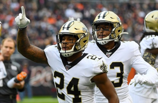 Oct 20, 2019; Chicago, IL, USA; New Orleans Saints strong safety Vonn Bell (24) reacts after recovering a fumble against the Chicago Bears during the first half at Soldier Field. Mandatory Credit: Mike DiNovo-USA TODAY Sports