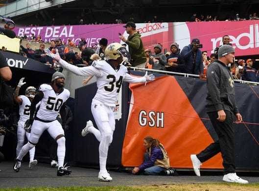Oct 20, 2019; Chicago, IL, USA; New Orleans Saints defensive back Justin Hardee (34) takes the field before the game against the Chicago Bears at Soldier Field. Mandatory Credit: Mike DiNovo-USA TODAY Sports