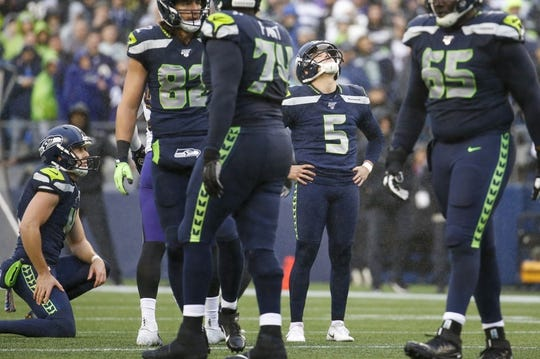 Oct 20, 2019; Seattle, WA, USA; Seattle Seahawks kicker Jason Myers (5) reacts after missing a 53-yard field goal attempt against the Baltimore Ravens during the third quarter at CenturyLink Field. Mandatory Credit: Joe Nicholson-USA TODAY Sports