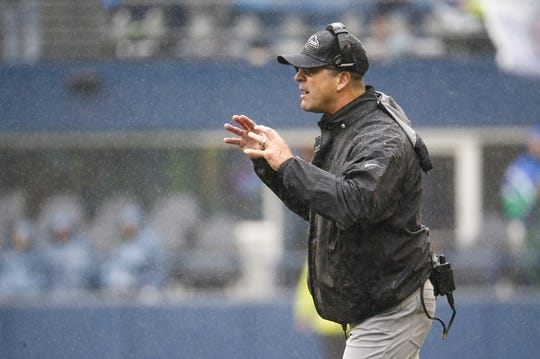 Oct 20, 2019; Seattle, WA, USA; Baltimore Ravens head coach John Harbaugh stands on the sideline during the second quarter against the Seattle Seahawks at CenturyLink Field. Mandatory Credit: Joe Nicholson-USA TODAY Sports