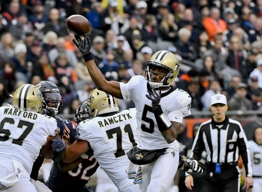 Oct 20, 2019; Chicago, IL, USA; New Orleans Saints quarterback Teddy Bridgewater (5) passes against the Chicago Bears during the second half at Soldier Field. Mandatory Credit: Matt Marton-USA TODAY Sports