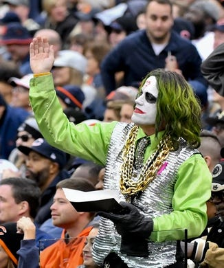 Oct 20, 2019; Chicago, IL, USA; A New Orleans Saints fan during the second half against the Chicago Bears at Soldier Field. Mandatory Credit: Matt Marton-USA TODAY Sports