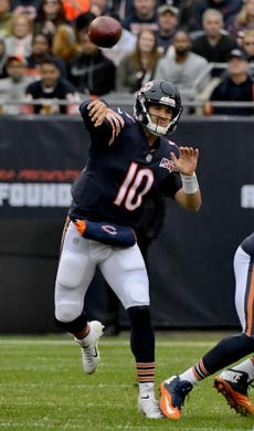 Oct 20, 2019; Chicago, IL, USA; Chicago Bears quarterback Mitchell Trubisky (10) passes against the New Orleans Saints during the first half at Soldier Field. Mandatory Credit: Matt Marton-USA TODAY Sports
