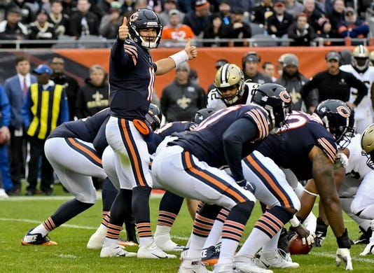 Oct 20, 2019; Chicago, IL, USA; Chicago Bears quarterback Mitchell Trubisky (10) during the first half against the New Orleans Saints at Soldier Field. Mandatory Credit: Matt Marton-USA TODAY Sports