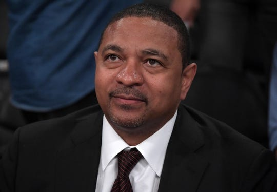 Oct 16, 2019; Los Angeles, CA, USA;  ESPN broadcaster Mark Jackson reacts during the NBA game between the Los Angeles Lakers and the Golden State Warriors Staples Center. Mandatory Credit: Kirby Lee-USA TODAY Sports