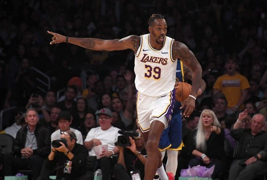 Oct 16, 2019; Los Angeles, CA, USA; Los Angeles Lakers center Dwight Howard (39) gestures  in the first half against the Golden State Warriors at Staples Center. The Lakers defeated the Warriors 126-93. Mandatory Credit: Kirby Lee-USA TODAY Sports