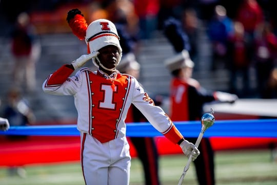 Oct 19, 2019; Champaign, IL, USA; The Illinois Fighting Illini Marching Illini is seen  prior to a game against the Wisconsin Badgers at Memorial Stadium. Mandatory Credit: Patrick Gorski-USA TODAY Sports