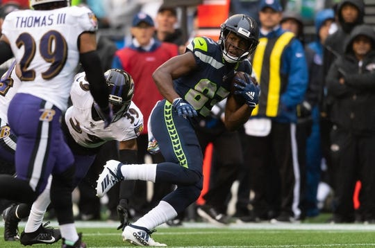 Oct 20, 2019; Seattle, WA, USA; Seattle Seahawks wide receiver David Moore (83) during the first half at CenturyLink Field. Baltimore defeated Seattle 30-16. Mandatory Credit: Steven Bisig-USA TODAY Sports
