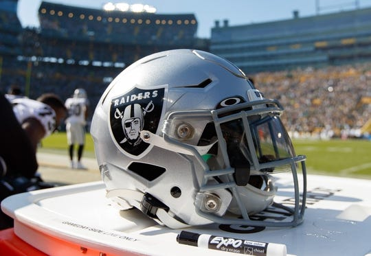Oct 20, 2019; Green Bay, WI, USA; An Oakland Raiders helmet during the game against the Green Bay Packers at Lambeau Field. Mandatory Credit: Jeff Hanisch-USA TODAY Sports