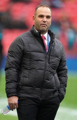 Nov 3, 2019; London, United Kingdom; Jacksonville Jaguars general manager Dave Caldwell watches from the sidelines before a NFL International Series game between the Jacksonville Jaguars and the Houston Texans at Wembley Stadium. Mandatory Credit: Kirby Lee-USA TODAY Sports
