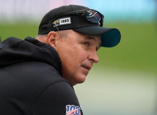 Nov 3, 2019; London, United Kingdom; Jacksonville Jaguars head coach Doug Marrone before a NFL International Series game against the Houston Texans at Wembley Stadium. Mandatory Credit: Kirby Lee-USA TODAY Sports