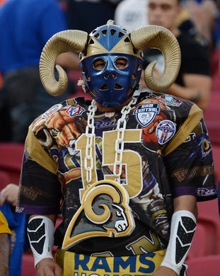 November 17, 2019; Los Angeles, CA, USA; Los Angeles Rams fans in attendance before the game against the Chicago Bears at the Los Angeles Memorial Coliseum. Mandatory Credit: Gary A. Vasquez-USA TODAY Sports