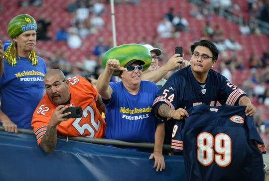November 17, 2019; Los Angeles, CA, USA; Los Angeles Rams and Chicago Bears fans in attendance before the game at the Los Angeles Memorial Coliseum. Mandatory Credit: Gary A. Vasquez-USA TODAY Sports