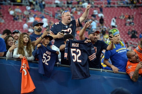 November 17, 2019; Los Angeles, CA, USA; Chicago Bears fans in attendance before the game against the Los Angeles Rams at the Los Angeles Memorial Coliseum. Mandatory Credit: Gary A. Vasquez-USA TODAY Sports