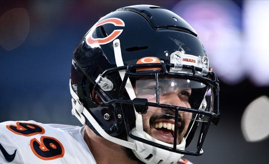 Nov 17, 2019; Los Angeles, CA, USA; Chicago Bears outside linebacker Aaron Lynch (99) smiles during pregame warmups before a game against the Los Angeles Rams at Los Angeles Memorial Coliseum. Mandatory Credit: Robert Hanashiro-USA TODAY Sports