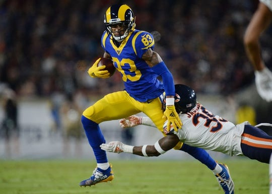 November 17, 2019; Los Angeles, CA, USA; Los Angeles Rams wide receiver Josh Reynolds (83) runs the ball as Chicago Bears free safety Eddie Jackson (39) defends during the first half at the Los Angeles Memorial Coliseum. Mandatory Credit: Gary A. Vasquez-USA TODAY Sports