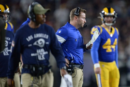 November 17, 2019; Los Angeles, CA, USA; Los Angeles Rams head coach Sean McVay watches game action against the Chicago Bears during the first half at the Los Angeles Memorial Coliseum. Mandatory Credit: Gary A. Vasquez-USA TODAY Sports