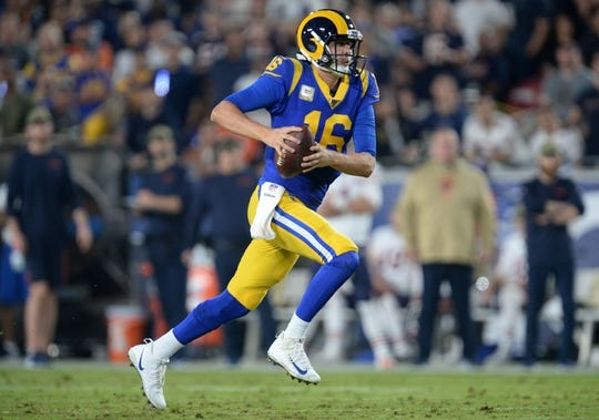 November 17, 2019; Los Angeles, CA, USA; Los Angeles Rams quarterback Jared Goff (16) runs the ball against the Chicago Bears during the first half at the Los Angeles Memorial Coliseum. Mandatory Credit: Gary A. Vasquez-USA TODAY Sports