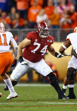 Jan 7, 2019; Santa Clara, CA, USA; Alabama Crimson Tide  tackle Jedrick Wills Jr (74) against the Clemson Tigers in the 2019 College Football Playoff Championship game at Levi's Stadium. Mandatory Credit: Mark J. Rebilas-USA TODAY Sports