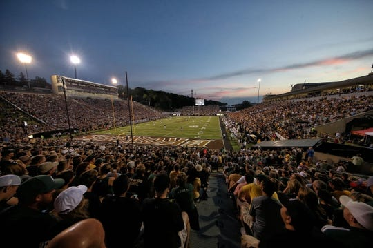 Sep 4, 2015; Kalamazoo, MI, USA; General view of stadium during the 1st half of a game between the Western Michigan Broncos and the Michigan State Spartans at Waldo Stadium. Mandatory Credit: Mike Carter-USA TODAY Sports