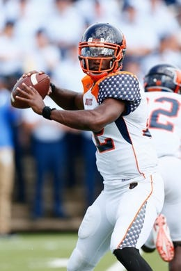 Sep 5, 2015; Colorado Springs, CO, USA; Morgan State Bears quarterback Moses Skillon (12) looks to pass in the third quarter against the Air Force Falcons at Falcon Stadium. The Falcons defeated the Bears 63-7. Mandatory Credit: Isaiah J. Downing-USA TODAY Sports