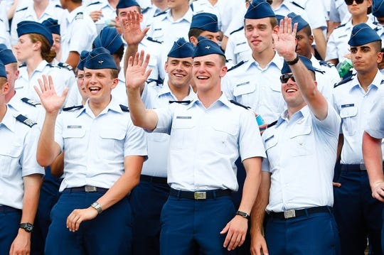 Sep 5, 2015; Colorado Springs, CO, USA; Air Force cadets wave to cheerleaders in the third quarter of the game against the Morgan State Bears at Falcon Stadium. The Falcons defeated the Bears 63-7. Mandatory Credit: Isaiah J. Downing-USA TODAY Sports