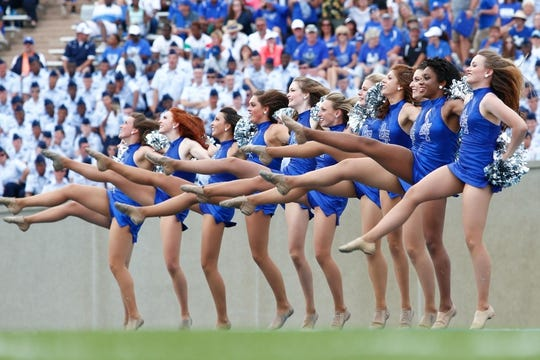 Sep 5, 2015; Colorado Springs, CO, USA; Air Force Falcons dancers perform in the third quarter of the game against the Morgan State Bears at Falcon Stadium. The Falcons defeated the Bears 63-7. Mandatory Credit: Isaiah J. Downing-USA TODAY Sports