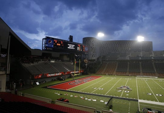 Sep 5, 2015; Cincinnati, OH, USA; A general view of Nippert Stadium during a rain delay prior to the game of the Cincinnati Bearcats against the Alabama A&M Bulldogs at Nippert Stadium. Mandatory Credit: Aaron Doster-USA TODAY Sports