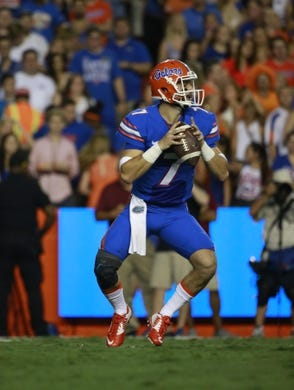 Sep 5, 2015; Gainesville, FL, USA; Florida Gators quarterback Will Grier (7) drops back against the New Mexico State Aggies during the second quarter at Ben Hill Griffin Stadium. Mandatory Credit: Kim Klement-USA TODAY Sports