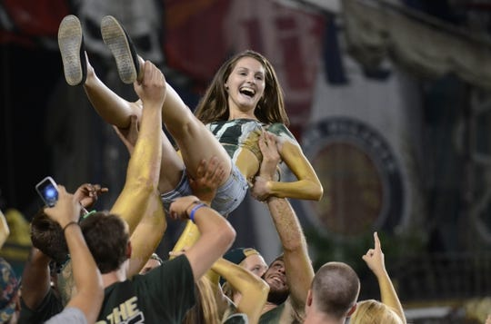 Sep 5, 2015; Tampa, FL, USA; South Florida Bulls fans celebrate after a touchdown during the second half against the Florida A & M Rattlers at Raymond James Stadium. Mandatory Credit: Jonathan Dyer-USA TODAY Sports
