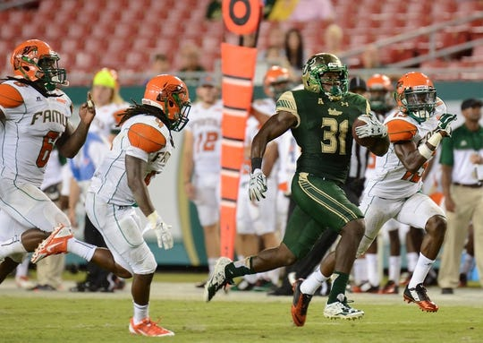 Sep 5, 2015; Tampa, FL, USA; South Florida Bulls running back D Ernest Johnson (31) runs with the ball in the second half against the Florida A & M Rattlers at Raymond James Stadium. The South Florida Bulls defeated the Florida A & M Rattlers 51-3. Mandatory Credit: Jonathan Dyer-USA TODAY Sports