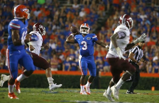 Sep 5, 2015; Gainesville, FL, USA; Florida Gators quarterback Treon Harris (3) throws the ball against the New Mexico State Aggies during the second half at Ben Hill Griffin Stadium. Mandatory Credit: Kim Klement-USA TODAY Sports