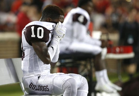 Sep 5, 2015; Cincinnati, OH, USA; Alabama A&M Bulldogs defensive back Jaylon Dorsey (10) reacts on the sidelines in the second half against the Cincinnati Bearcats at Nippert Stadium. The Bearcats won 52-10. Mandatory Credit: Aaron Doster-USA TODAY Sports