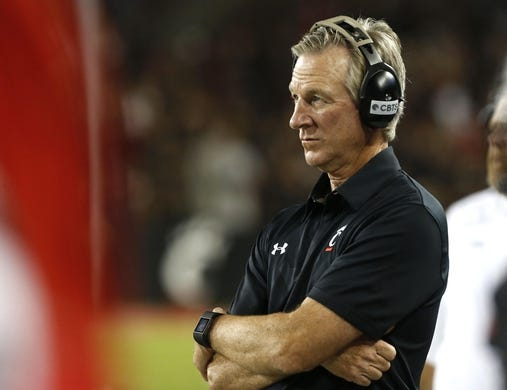 Sep 5, 2015; Cincinnati, OH, USA; Cincinnati Bearcats head coach Tommy Tuberville looks on from the sidelines in the second half against the Alabama A&M Bulldogs at Nippert Stadium. The Bearcats won 52-10. Mandatory Credit: Aaron Doster-USA TODAY Sports